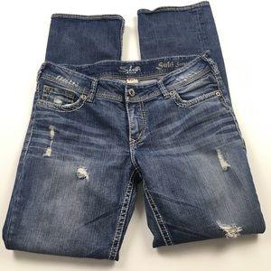 Silver Suki Straight Distressed Jeans Sz 32